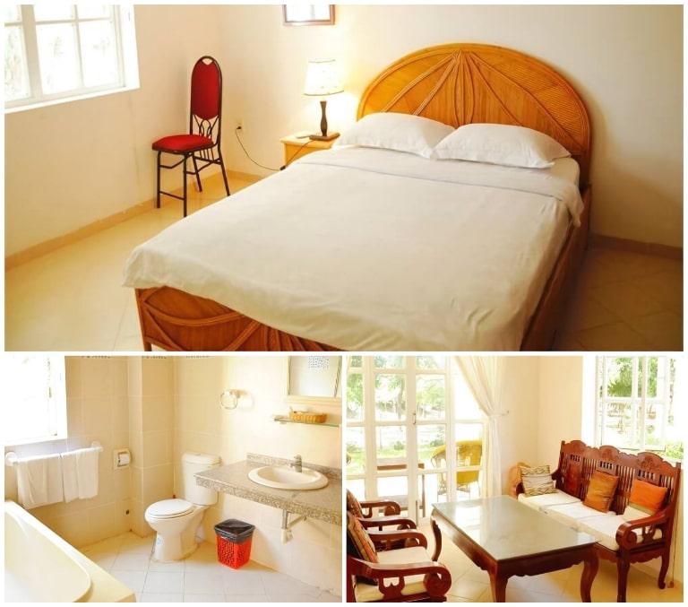 Phòng nghỉ của River Ray resort với tông màu ấm áp