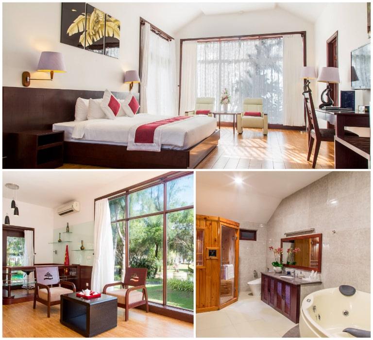 Không gian phòng ở rộng rãi của resort 4 sao Carmelia Hồ Tràm