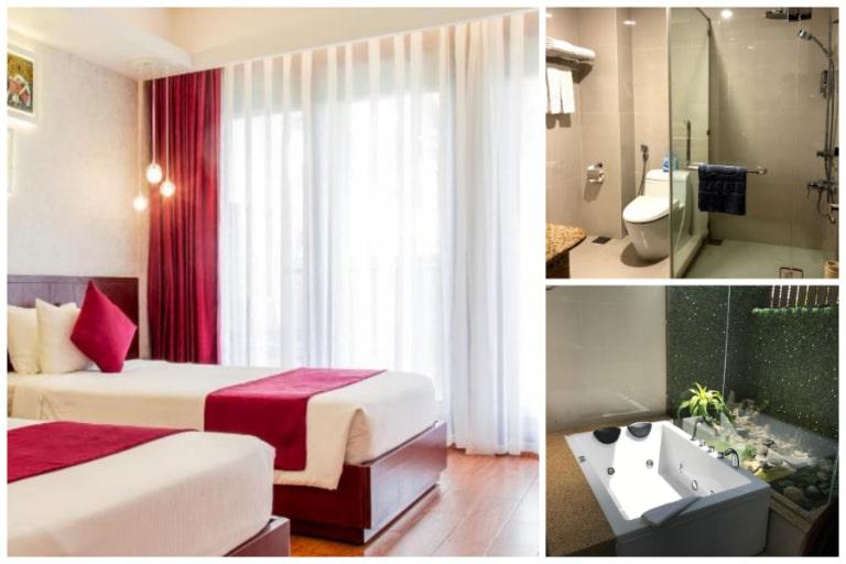 Phòng nghỉ tiện nghi với nhà vệ sinh và bồn tắm chất lượng châu Âu