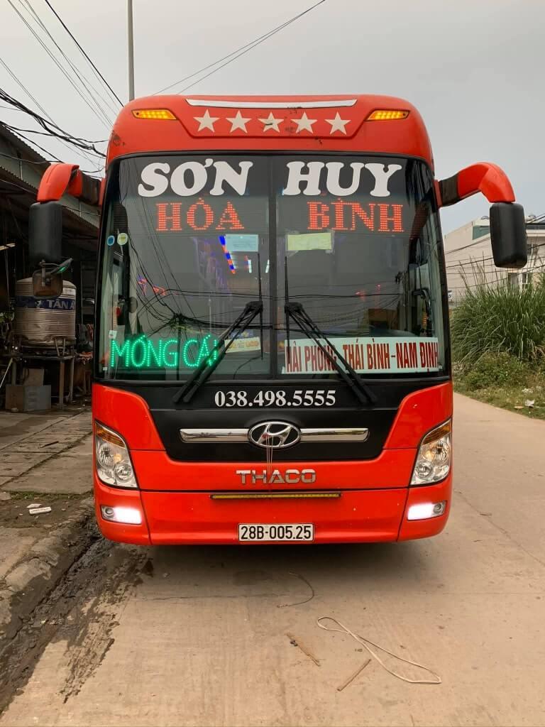 Xe khách Sơn Huy từ Móng Cái về Hòa Bình