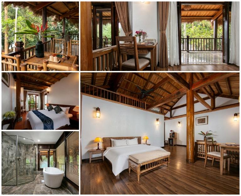 Phòng nghỉ đậm kiến trúc dân tộc tại resort Mai Châu Hòa Bình