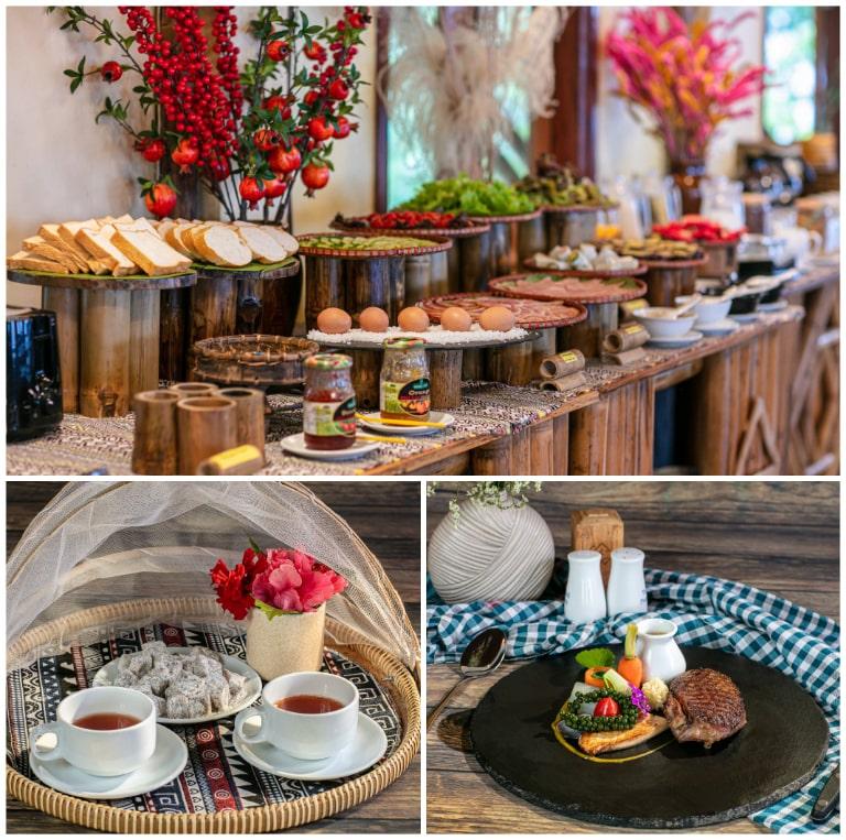 Không gian ẩm thực tại resort 4 sao Mai Châu Hide Away