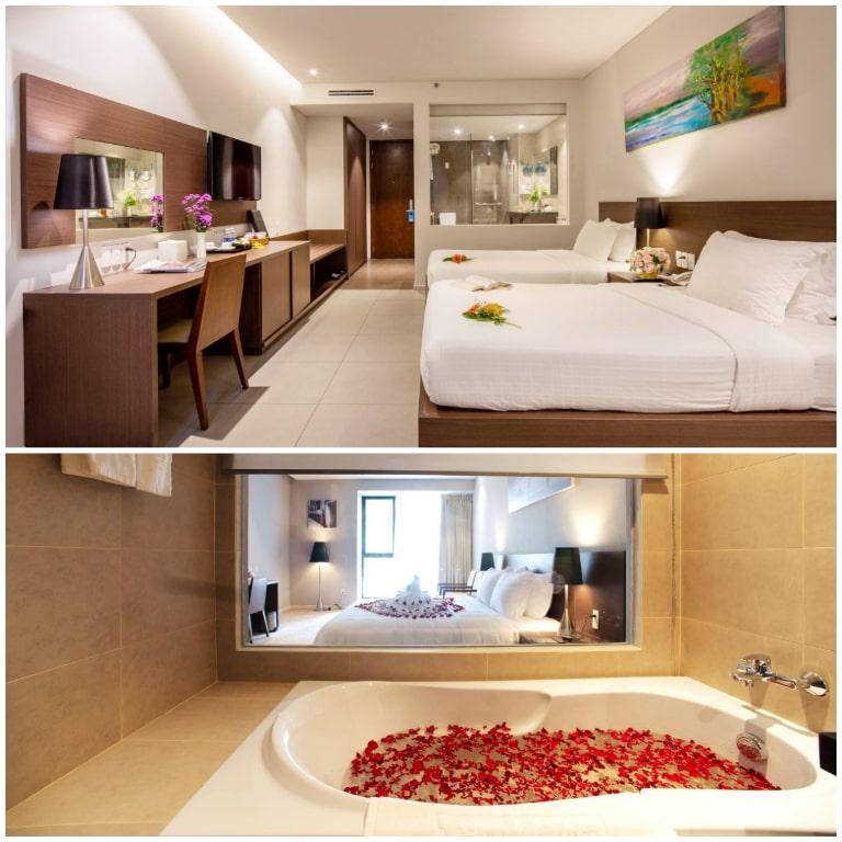 Phòng nghỉ với thiết kế mở tạo không gian rộng rãi hơn.