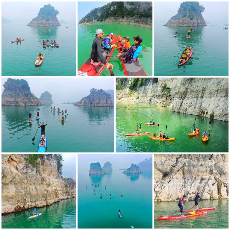 Dịch vụ chèo thuyền của resort Ba Khan Village Hòa Bình