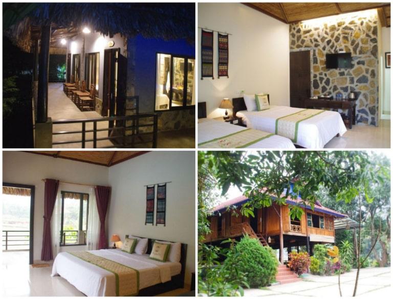 Phòng nghỉ được xây dựng dựa trên cảm hứng nhà sàn Hòa Bình.