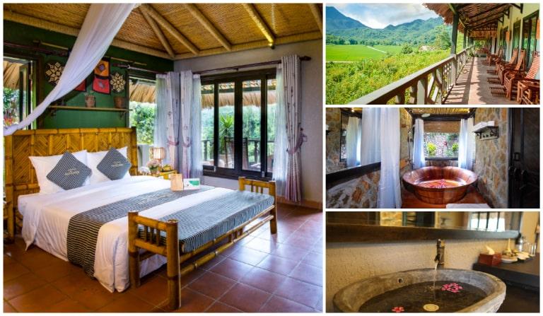 Phòng ngủ ấn tượng tại Mai Châu Ecolodge resort Hoà Bình