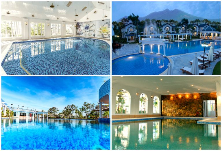 Hệ thống nước khoáng và bể bơi ngoài trời tại resort 5 sao gần Hà Nội