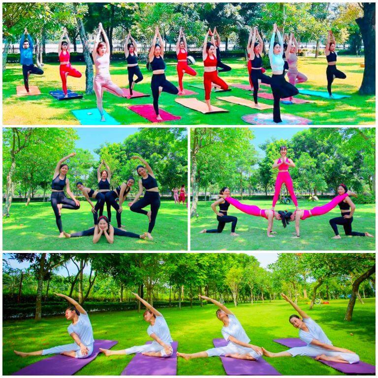 Yoga an dưỡng sức khỏe tại khuôn viên resort FLC Vĩnh Phúc